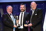 Derek Shannon, New Ross Musical Society, Wexford who won Best Director / Sullivan Section for the show 'Singing in the Rain' receiving the trophy from on  left, Colm Moules, President, AIMS and Seamus Power, Vice-President at the Association of Irish Musical Societies annual awards in the INEC, KIllarney at the weekend.<br /> Photo: Don MacMonagle -macmonagle.com<br /> <br /> <br /> <br /> repro free photo from AIMS<br /> Further Information:<br /> Kate Furlong AIMS PRO kate.furlong84@gmail.com