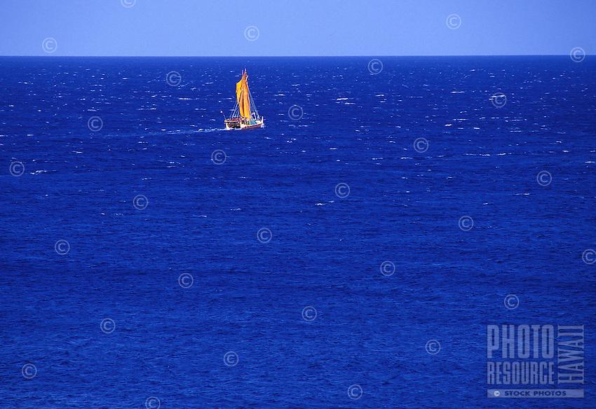 Original Hawaiian sailing canoe, the hokulea, off shore of the Big Island of Hawaii