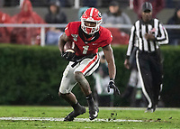 ATHENS, GA - OCTOBER 19: George Pickens #1 of the Georgia Bulldogs runs after a reception during a game between University of Kentucky Wildcats and University of Georgia Bulldogs at Sanford Stadium on October 19, 2019 in Athens, Georgia.