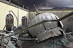 Roof of mosque collapsed by ash deposits from Sinabung Volcano, Sumatra, Indonesia