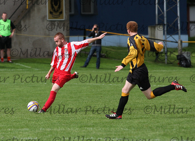 Ross Drysdale shoots in the Huntly v Wigtown & Bladnoch William Hill Scottish Cup 1st Round match, at Christie Park, Huntly on 25.8.12.