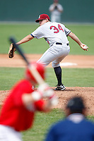 July 28, 2009:  Pitcher Cory Burns of the Mahoning Valley Scrappers during a game at Dwyer Stadium in Batavia, NY.  Mahoning Valley is the NY-Penn League Short-Season Class-A affiliate of the Cleveland Indians.  Photo By Mike Janes/Four Seam Images