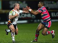 PICTURE BY VAUGHN RIDLEY/SWPIX.COM - Rugby League - Super League - Bradford Bulls v Leeds Rhinos - Odsal, Bradford, England - 06/04/12 - Bradford's Matt Diskin and Leeds Kallum Watkins.