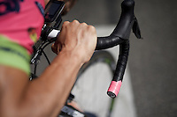 Ruben Plaza (ESP/Lampre-Merida) and his 'pinkie' handlebar before the start (of the stage he would eventually win...)<br /> <br /> stage 16: Bourg de Péage - Gap (201km)<br /> 2015 Tour de France