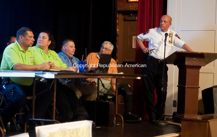 BETHLEHEM, CT-30 AUGUST 2012--083012JS04- Thomaston acting Police Chief James Campbell, right, gives a presentation outlining the need for a proposed 3.975 million radio system for police, firefighters, ambulance and town crews Thursday at Thomaston Center School. .Jim Shannon Republican-American