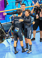 Mens Sprint team of Eddie Dawkins,  Ethan Mitchell and  Sam Webster win gold. . Track Cycling, Anna Meares Arena, Commonwealth Games, Gold Coast, Australia. Thursday 5 April, 2018. Copyright photo: John Cowpland / www.photosport.nz /SWPix.com