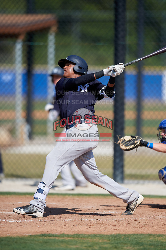 New York Yankees Carlos Tatis (19) during a Minor League Spring Training game against the Toronto Blue Jays on March 18, 2018 at Englebert Complex in Dunedin, Florida.  (Mike Janes/Four Seam Images)