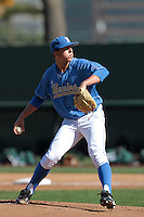 Nick Vander Tuig #21 of the UCLA Bruins pitches against the Baylor Bears at Jackie Robinson Stadium on February 25, 2012 in Los Angeles,California. UCLA defeated Baylor 9-3.(Larry Goren/Four Seam Images)