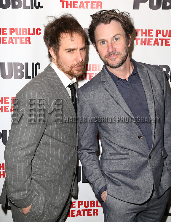Sam Rockwell and Josh Hamilton attends the Opening Night Celebration of 'Grounded' at the The Public Theatre on April 24, 2015 in New York City.