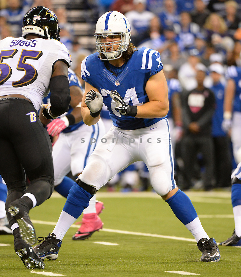 Indianapolis Colts Anthony Castonzo (74) during a game against the Baltimore Ravens on October 5, 2014 at Lucas Oil Stadium in Indianapolis, IN. The Colts beat the Ravens 20-13.