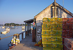 Central coast, Maine:<br /> Lobster traps and shed in fishing village of Friendship