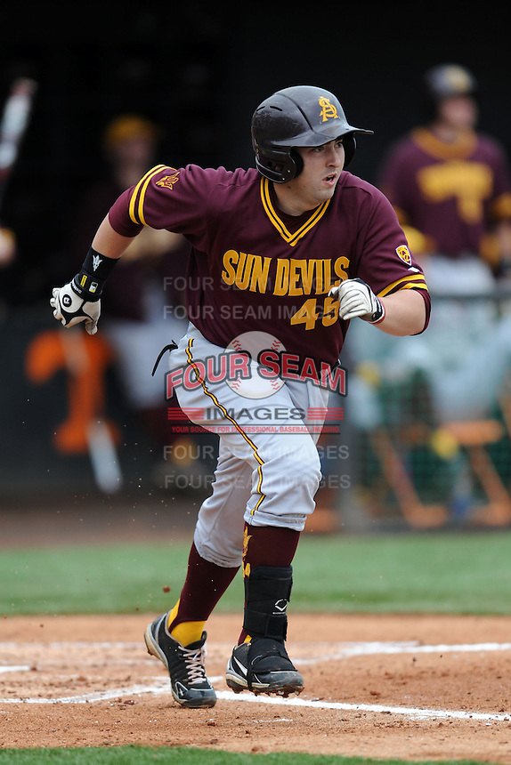Arizona State Sun Devils designated hitter Tony DiMartino #45 runs to first during a game against  the Tennessee Volunteers at Lindsey Nelson Stadium on February 23, 2013 in Knoxville, Tennessee. The Volunteers won 11-2.(Tony Farlow/Four Seam Images).