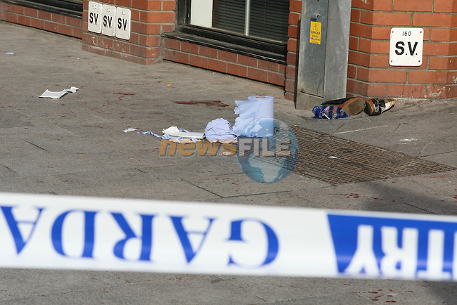Scene of last nights incident in Drogheda where 7 people were stabbed. A 17 year old man is being questioned in connection with the incident...Photo NEWSFILE/Jenny Matthews.(Photo credit should read Jenny Matthews/NEWSFILE)....This Picture has been sent you under the condtions enclosed by:.Newsfile Ltd..The Studio,.Millmount Abbey,.Drogheda,.Co Meath..Ireland..Tel: +353(0)41-9871240.Fax: +353(0)41-9871260.GSM: +353(0)86-2500958.email: pictures@newsfile.ie.www.newsfile.ie.FTP: 193.120.102.198.