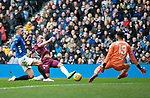 Rangers v St Johnstone&hellip;16.02.19&hellip;   Ibrox    SPFL<br />Chris Kane shoots straight at Wes Foderingham<br />Picture by Graeme Hart. <br />Copyright Perthshire Picture Agency<br />Tel: 01738 623350  Mobile: 07990 594431