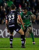 9th February 2018, Galway Sportsground, Galway, Ireland; Guinness Pro14 rugby, Connacht versus Ospreys; Naulia Dawai (Connacht) looks for a way past Joe Thomas (Ospreys)