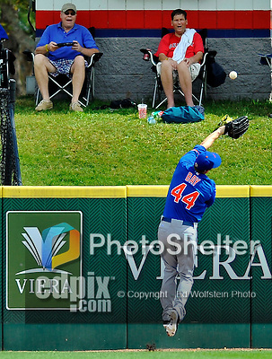 10 March 2012: New York Mets outfielder Jason Bay is unable to get to the ball as fans look on during a Spring Training game against the Washington Nationals at Space Coast Stadium in Viera, Florida. The Nationals defeated the Mets 8-2 in Grapefruit League play. Mandatory Credit: Ed Wolfstein Photo