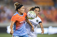 Houston, TX - Saturday July 16, 2016: Amber Brooks, Nadia Nadim during a regular season National Women's Soccer League (NWSL) match between the Houston Dash and the Portland Thorns FC at BBVA Compass Stadium.