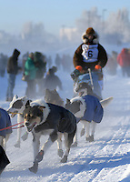 Start of Yukon Quest dogsled race in Fairbanks Alaska. -35 Degrees F.