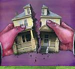 Human hands fixing house