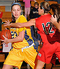 Gabriella Heimbauer #23 of Massapequa, left, shields the ball from Camryn Monfort #12 of Syosset during a Nassau County Conference AA-I varsity girls' basketball game at Massapequa High School on Friday, Jan. 15, 2016. Massapequa won by a score of 60-33.