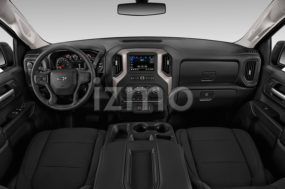 Stock photo of straight dashboard view of a 2019 Chevrolet Silverado 1500 Custom Trail Boss 4 Door Pick Up