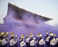 The Husky Marching Band plays the team onto the field prior to the game.