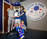 Broxi's Den sensory room at Ibrox gets an Autism Friendly Award, Jo Hamilton of the National Autistic Society Scotland presents Kenny Miller with the award along with kids Thomas MacLeod and Hannah O'Leary