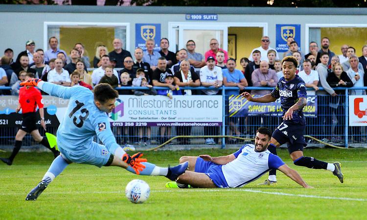 Leeds United's Helder Costa scores his side's first goal  <br /> <br /> Photographer Alex Dodd/CameraSport<br /> <br /> Football Pre-Season Friendly - Guiseley v Leeds United - Thursday July 11th 2019 - Nethermoor Park - Guiseley<br /> <br /> World Copyright © 2019 CameraSport. All rights reserved. 43 Linden Ave. Countesthorpe. Leicester. England. LE8 5PG - Tel: +44 (0) 116 277 4147 - admin@camerasport.com - www.camerasport.com