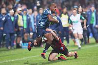 11th July 2020; Christchurch, New Zealand;  Mark Telea hands off. Crusaders versus Blues in the Super Rugby Aotearoa. Orangetheory Stadium, Christchurch,