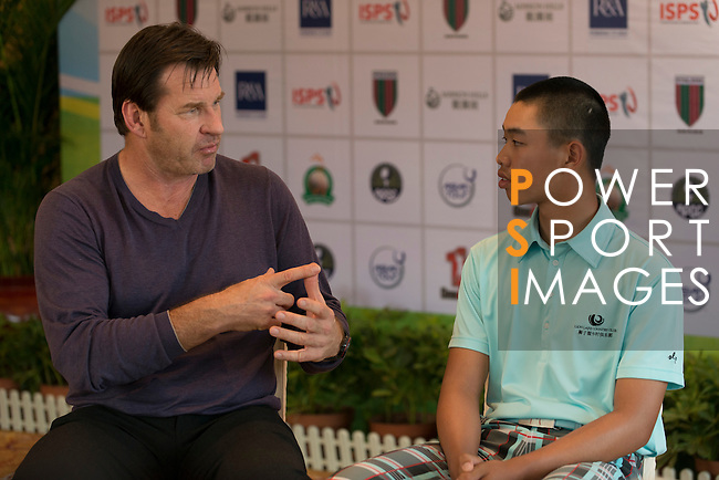 General coverage of the opening press conference of the 7th annual Faldo Series Asia Grand Final at Mission Hills Golf Club in Shenzhen, China - with special guests Sir Nick Faldo, Guan Tianlang and Tenniel Chu. Photo by Andy Jones / The Power of Sport Images
