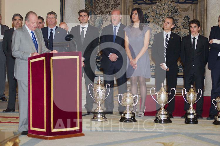280211.MC.Entrega De Los Premios Nacionales Del Deporte 2010..Pal Real El Pardo.Madrid.Ss.Mm. Los Reyes,.Ss.Aa.Rr. Los Príncipes De Asturias Y.S.A.R. La Infanta Doña Elena..