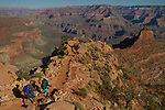Hikers on the South Kaibab Trail descending Cedar Ridge, South Rim in Grand Canyon National Park, northern Arizona. .  John leads hiking and photo tours throughout Colorado. . John offers private photo tours in Grand Canyon National Park and throughout Arizona, Utah and Colorado. Year-round.