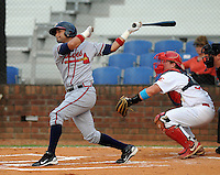 Infielder Fernando De Los Santos (7) of the Danville Braves, Appalachian League affiliate of the Atlanta Braves, in a game against the Johnson City Cardinals on August 19, 2011, at Howard Johnson Field in Johnson City, Tennessee. Danville defeated Johnson City, 5-4, in 16 innings. (Tom Priddy/Four Seam Images)