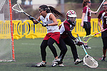 Santa Barbara, CA 02/19/11 - Cyana Chilton (Stanford #1) and Alaina Doran (Minnesota-Duluth #32) in action during the Stanford - Minnesota-Duluth game at the 2011 Santa Barbara Shootout.