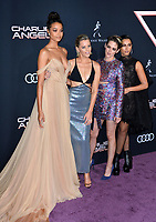 "LOS ANGELES, USA. November 12, 2019: Ella Balinska, Elizabeth Banks, Kristen Stewart & Naomi Scott at the world premiere of ""Charlie's Angels"" at the Regency Village Theatre.<br /> Picture: Paul Smith/Featureflash"