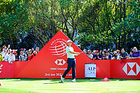 Xander Schauffele (USA) on the 3rd tee during the final round at the WGC HSBC Champions 2018, Sheshan Golf CLub, Shanghai, China. 28/10/2018.<br /> Picture Fran Caffrey / Golffile.ie<br /> <br /> All photo usage must carry mandatory copyright credit (&copy; Golffile | Fran Caffrey)