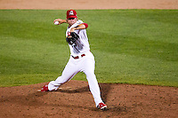 Michael Blazek (33) of the Springfield Cardinals delivers a pitch during a game against the Arkansas Travelers at Hammons Field on July 25, 2012 in Springfield, Missouri. (David Welker/Four Seam Images)