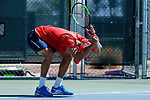 SURPRISE, AZ - MAY 12: Kiranpal Pannu of the Columbus State Cougars reacts to a lost point against the Barry Buccaneers during the Division II Men's Tennis Championship held at the Surprise Tennis & Racquet Club on May 12, 2018 in Surprise, Arizona. (Photo by Jack Dempsey/NCAA Photos via Getty Images)