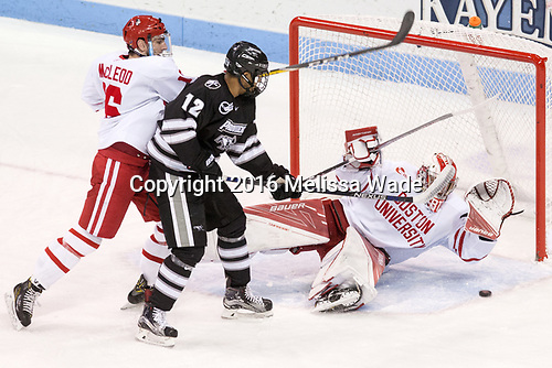 John MacLeod (BU - 16), Erik Foley (PC - 12), Jake Oettinger (BU - 29) - The Boston University Terriers tied the visiting Providence College Friars 2-2 on Saturday, December 3, 2016, at Agganis Arena in Boston, Massachusetts.