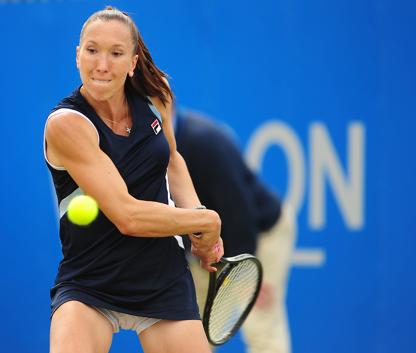 Jelena Jankovic SRB [4] in action during her victory over Jie Zheng CHN in their Women's Singles Semifinal match - Jelena Jankovic SRB [4] def Jie Zheng CHN 6-7(2) 7-5 6-1..International Womens Tennis - 2012 WTA Tour - The AEGON Classic - Edgbaston Priory Club - Birmingham - Day 7 - Sunday 17th Jun 2012..