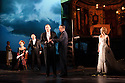 London, UK. 04.11.2016. AN INSPECTOR CALLS, by J B Priestley, opens at the Playhouse Theatre.  It is the 70th anniversary of the first UK staging of the play and the 25th anniversary of its first appearance at The National Theatre, directed by Stephen Daldry. Lighting design is again by Rick Fisher with set and costume design by Ian MacNeil. Picture shows: Barbara Marten (Mrs Birling), Clive Francis (Mr Birling), Matthew Douglas (Gerald Croft), Liam Brennan (Inspector Goole), Carmela Corbett (Sheila Birling). Photograph © Jane Hobson.