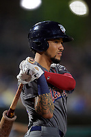 Lehigh Valley IronPigs J.P. Crawford (3) on deck during a game against the Rochester Red Wings on September 1, 2018 at Frontier Field in Rochester, New York.  Lehigh Valley defeated Rochester 2-1.  (Mike Janes/Four Seam Images)