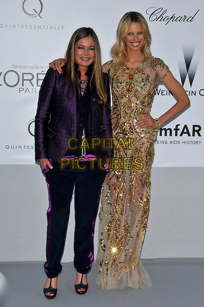 Eva Cavalli, Karolina Kurkova.AmFAR Cinema Against AIDS 2012, Hotel du Cap, Antibes during the 65th  Cannes Film Festival, France..24th May 2012.full length purple black blazer trousers dress sheer see thru through sequins sequined hand on hip.CAP/PL.©Phil Loftus/Capital Pictures.