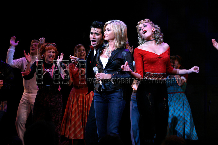 Olivia Newton John, Derek Keeling, Ashley Spencer during Olivia Newton-John is headed back to Rydell High to promote Breast Cancer Awareness after the Curtain Call for GREASE at the Brooks Atkinsoon Yheatre in New York City. <br />October 7, 2008