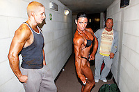 23/10/2010. Irish female physique and figure fitness national championships.  Sophia Mc Namara (1st place winner) from Limerick is pictured backstage during the female physique category as part of the 2010 RIBBF national bodybuilding championships at the University of Limerick Concert Hall, Limerick, Ireland. Picture James Horan