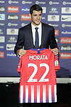 Alvaro Morata during the official presentation as a new Atletico de Madrid football club player at Estadio Metropolitano, Spain. January 29, 2019. (ALTERPHOTOS/Alconada)
