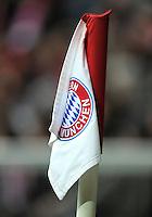 FUSSBALL   1. BUNDESLIGA  SAISON 2011/2012   29. Spieltag FC Bayern Muenchen - FC Augsburg       07.04.2012 Eckfahne mit dem Logo vom FC Bayern Muenchen