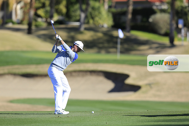 Jonas Blixt (SWE) plays his 2nd shot on the 1st hole during Saturday's Round 3 of the 2017 CareerBuilder Challenge held at PGA West, La Quinta, Palm Springs, California, USA.<br /> 21st January 2017.<br /> Picture: Eoin Clarke | Golffile<br /> <br /> <br /> All photos usage must carry mandatory copyright credit (&copy; Golffile | Eoin Clarke)