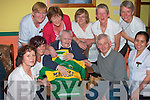 Up Kerry Dan Hayes of Rock Street, made no secret of who he was supporting on Sunday when he celebrated his 97th birthday at St. Louis Nursing home on Wednesday.  Pictured with Dan l-r are Margaret Taylorson, Ciara Sheehy, Dan Hayes, (birthday boy), Denis Hayes, (Nephew), Killarney, Tersita Deniea.  Back l-r Kathleen Kelly, Yvonne Maher, Noreen Deenehy, Aileen Clliford and Barbara Cosgrove...   Copyright Kerry's Eye 2008