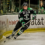 24 October 2015: University of North Dakota Defenseman Paul LaDue, a Junior from Grand Forks, ND, in second period action against the University of Vermont Catamounts at Gutterson Fieldhouse in Burlington, Vermont. North Dakota defeated the Catamounts 5-2 in the second game of their weekend series. Mandatory Credit: Ed Wolfstein Photo *** RAW (NEF) Image File Available ***